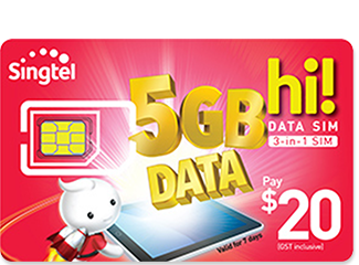 Singtel - hi! SIM Card for Data- $20